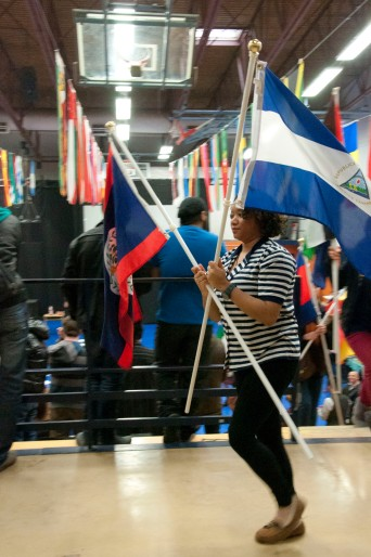 A Belizean student strides by.