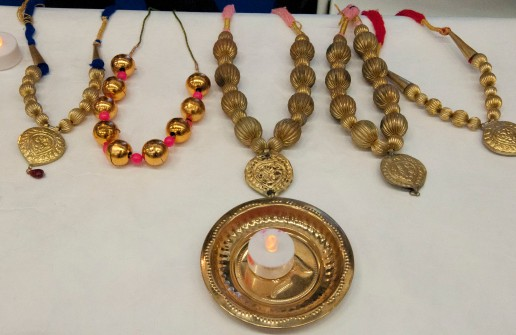 Necklaces worn by the bhangra dancers from India